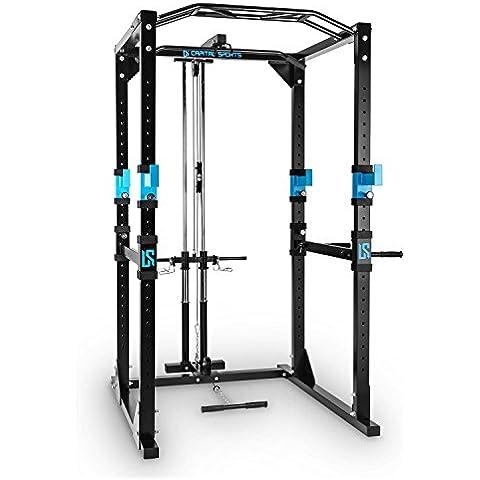 Capital Sports Tremendour Plus jaula de musculación con dorsalera (traccion cable, pesos, torre dorsales, agarre múltiple, flexiones, brazos, piernas, press banca) -