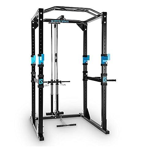 Capital Sports Tremendour Power Rack Cage à squat (rack de musculation avec barre de traction et poulie pour tractions latissimus pour tous types d