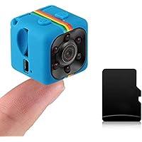 SQ11 Mini Cámara portátil 1080P HD Videocámara Batería de Litio Grabadora de Video de Voz Deportes DV Cámara Soporte TF Tarjeta TV out (Color: Azul)