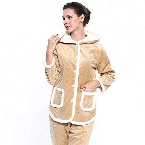 Pyjama/Damen Kapuzen Langarm regelmäßige vorne geknöpft home Servicepaket/Pyjamas/Warmen Schlafanzug C