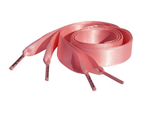 Pimp My Shoes Rosa Satin Band Schnürsenkel Schnürsenkel für Nike Air Force mit unseren Logo Sicherung an Seilenden:, Pink - rose - Größe: Passend für Schuhgröße 38-42 - Junioren Rose