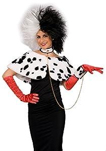 Carnaval Juguetes 3070 - Juego Crudelia, felpa del Cabo, el collar, pulsera, negro/blanco