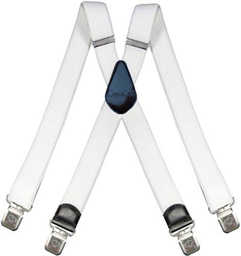 Decalen Hosenträger für Herren breit extra starken 4 cm mit 4er Clips X-Form lange für Männer und Damen Hose (Weiß)