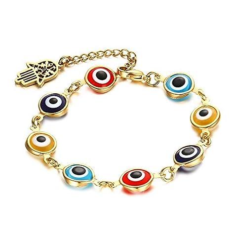 HooAMI Bracelet Femme avec Perle Forme de Mauvais Oeil Acier inoxydable Doré