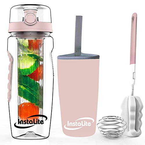 Instalite Fruit Infuser Water Bottle 1 Litre with BPA Free Tritan Material, Free Weight-Loss & Detox Recipe eBook Sleeve & Cleaning Brush (Rose Gold)