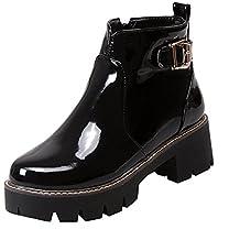 10ea93ab7fe403 YE Damen Blockabsatz Lack Ankle Boots Stiefeletten Plateau mit Schnallen  und Reißverschluss Freizeit Bequem Schuhe