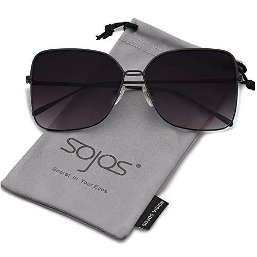 SOJOS Damen Sonnenbrille Neue Modell Metall Flach Linsen Groß SJ1082 mit Schwarz Rahmen/Verlauf Grau Linse