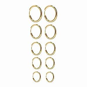 Onnea 5 Paare Edelstahl Creolen Ohrringe Set für Damen Gold Silber Rosegold, Durchmesser 10mm 12mm 14mm 16mm 18mm