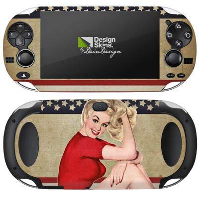 DeinDesign Skin kompatibel mit Sony PS Vita 1000 Aufkleber Folie Sticker America Amerika Woman (Lady Von Amerika)