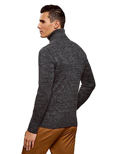 oodji Ultra Herren Melierter Pullover mit Reißverschluss-Kragen Grau (2500M)