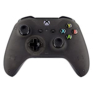eXtremeRate Hülle für Xbox One S/X,Case Schutzhülle Hülle Gehäuse Cover Schale Skin Shell Zubehör Set für Xbox One S/Xbox One X Controller(Schwarz Transparent)