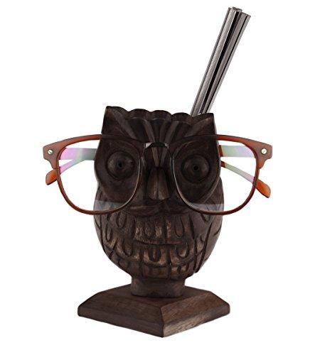 Weihnachtsgeschenke, Handgefertigte Hölzerne Brillenhalter Mit Eule Geformte Brillenstander Und Stift Bleistift Stand Aufbewahrungsbox Wohnkultur (Brillen-halter Eule)