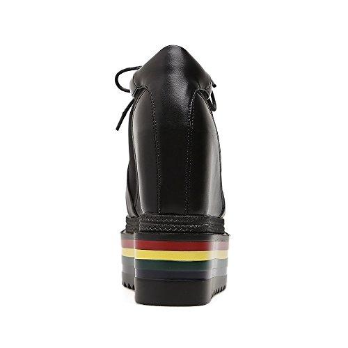 GTVERNH-la primavera 8.5cm scarpe nere bocca di pesce scarpe spugna spesso fondo impermeabile sandali colore lace scarpe,trentaquattro Thirty-nine