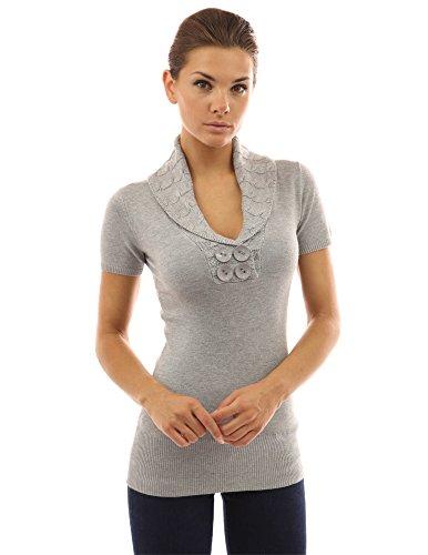 PattyBoutik Pull femmes Tunique col V avec manches courtes gris chiné