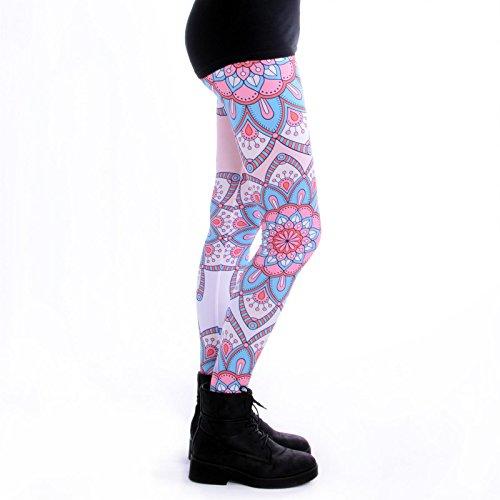 cosey - bedruckte bunte Leggings (Einheitsgröße) verschiedene Designs Mandala Blumen Türkis