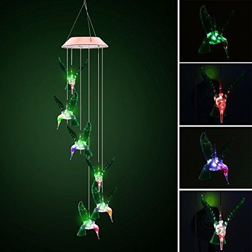 ALLOMN Farbwechsel LED Solar Mobile Windspiel, solarbetriebene LED Nacht Licht Wasserdicht Sechs Kolibri Windspiel für Outdoor Garten Party Weihnachten Dekoration
