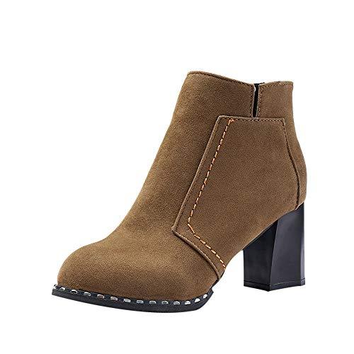 Unisex Damen Stiefeletten Worker Boots Profilsohle Schlupfstiefel Warm Boots, Reißverschluss Runde Toe Schuhe Patchwork Flock High Dick Stiefel ♔LANSKIRT