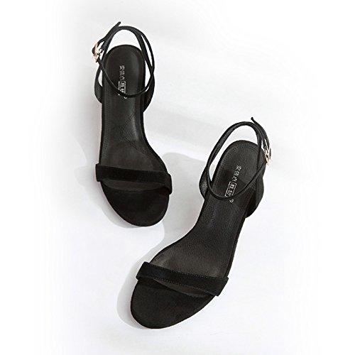 Xy & GK die Kleidung Sommer-Sandale Schnalle Wort all-match Ferse Sandale Leder in Rom, bequem und schön 34 black