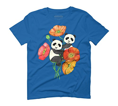 Poppies and Pandas Men's Graphic T-Shirt - Design By Humans Royal Blue