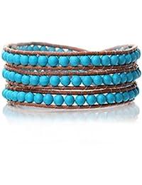 bleu turquoise ronde 4mm et noué à la main sur le brun bracelet en cuir wrap