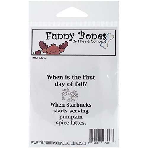 Riley & Company RWD469 Funny Bones Cling Stamp 2 x 2.25 in. - Pumpkin Spice Lattes by Riley & Company