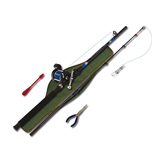 Nick and Ben Glasfaser-Angel Hochsee-Angeln Steck-Rute Norwegen XXL Ausrüstungs-Set 210cm mit WG 250g inkl. Zubehör