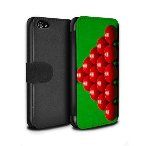 Stuff4 Coque/Etui/Housse Cuir PU Case/Cover pour Apple iPhone 4/4S / Boul Rouge/Rack Design / Snooker Collection Rack