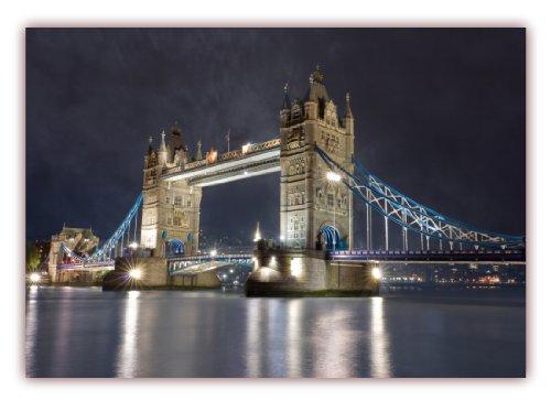 XXL Poster 100 x 70cm (F-230) Tower Bridge über die Themse bei Nacht - London (Lieferung gerollt!)