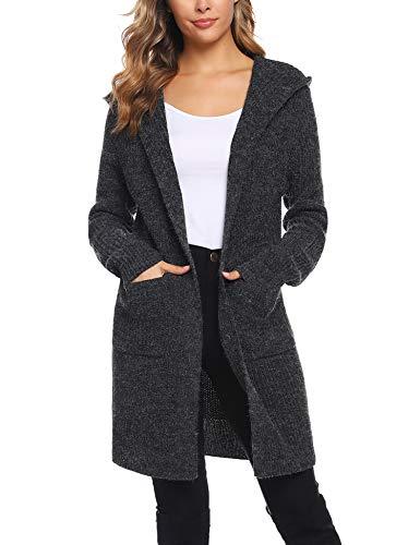 Sykooria Cárdigan Punto Mujer Suéter Capucha Frente