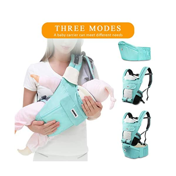 SONARIN Multifunctional Hipseat Baby Carrier,Breathable Straps, Ergonomic, 100% Cotton, Large Capacity Storage,11 Carrying Positions,Adapted to Your Child's Growing,Ideal Gift(Light Green) SONARIN  4