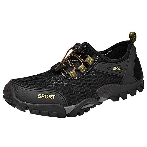 Herren Sommer Trekking Sandale Wanderschuhe Super Atmung Draussen Hiking Schuhe Mesh Vamp Wasserschuhe Sport Laufen Klettern (42 EU, Schwarz)
