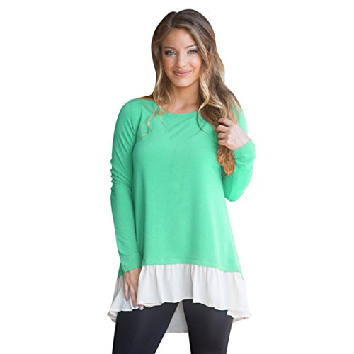 Longra Damen Mode Blusen Spitzenbluse Frauen Langarm Blusenshirt Lose Trim Patchwork Rundhals Tunika Blusen T-Shirt (Green, M) (Jumper Trim)