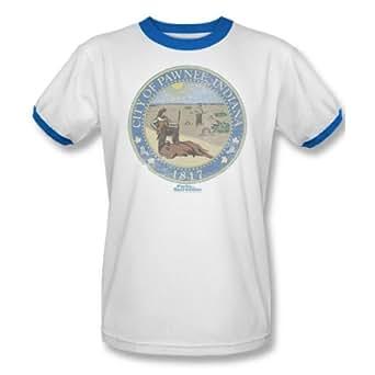 Parks & Recreation - Mens Distressed Pawnee Seal Ringer T-Shirt In White/Royal, XXX-Large, White/Royal