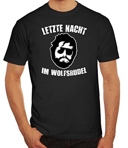 Junggesellenabschieds JGA Hangover Herren T-Shirt Letzte Nacht im Wolfsrudel, Größe: M,Schwarz