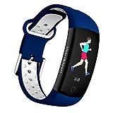Fitness Tracker, 2018 Q6S Smart Bluetooth Armband 3D dynamische Herzfrequenz Blutdruck Test Sport Schritt GPS Positionierung Anruf Erinnerung Armband für Android IOS (Blau)