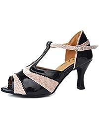 WYMNAME Mujeres Zapatos De Baile Latino,Peep-Toe Tacones Zapatos De Baile Social Fondo Blando Cuadrado Zapatos...