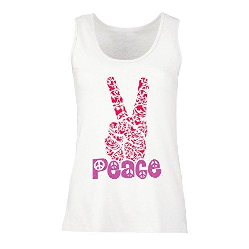 (lepni.me Damen Tank-Top Hippie-Friedenstages-Symbol, 60s 70s Hippy-Partei-Zeichen, Swag Hipster (X-Large Weiß Mehrfarben))