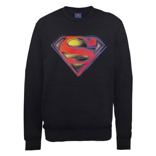 DC Universe Herren Sweatshirt Dc0001016 DC Comics Official Superman Stencil Logo Schwarz - Schwarz