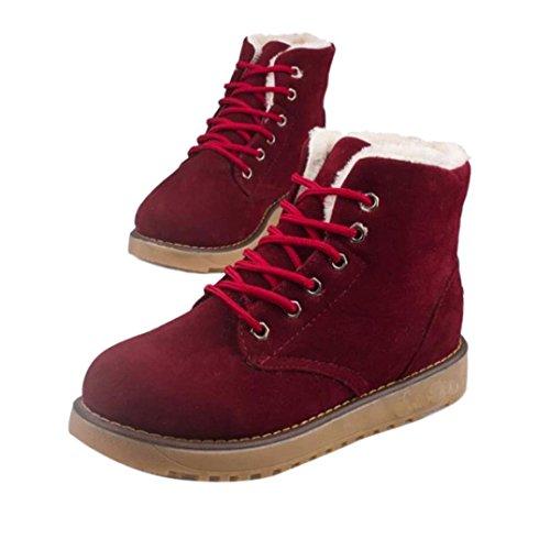 Les femmes hiver chaud avec le velours plat avec des bottes de neige de lacet vers le haut chaussures de cheville uTz3zB