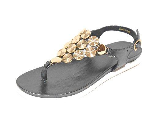 Tosca Blu SS1507S121 sandali donna infradito bassi pelle grigio scuro e oro n° 36