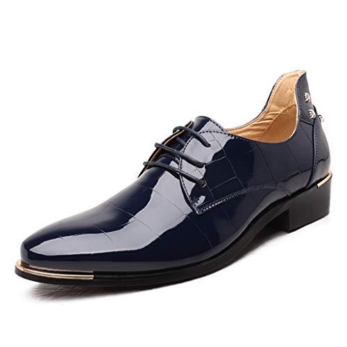 Rote Sohle Spitze (Men's Classic Enterprise Gummi rutschfeste Sohlen Druckplatte Leder Spitze Gitter intelligente Schuhe rot schwarz blau atmungsaktiv tragen,Blue,43)
