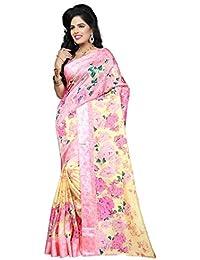 Indian Fashionista Women's Printed Kota Silk Saree with Blouse Piece (Floral Print)