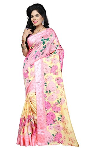 Indian Fashionista women's Printed Kota Silk Saree with Blouse Piece (Floral Print)...