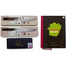 Kai Weihnachtsset 2013: 2 Stück Kai Damastmesser Shun Premier Tim Mälzer + Abziehstein + Kochbuch Greenbox in Weihnachts-Geschenkverpackung