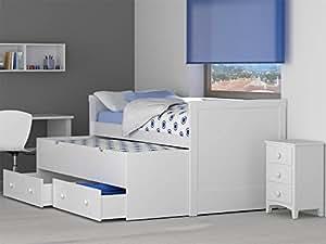 Atlamp letto singolo con secondo letto estraibile e 2 cassetti mod nido materassi non for Letto singolo con cassetti