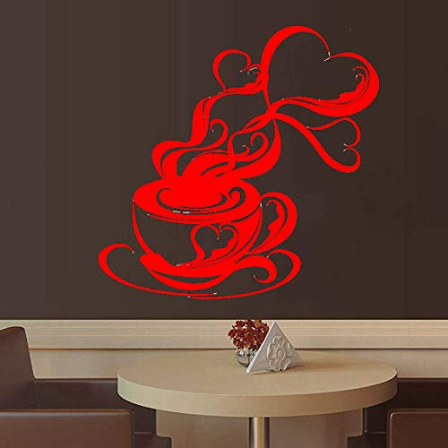 yaoxingfu Kaffeetasse Bohnen Küche Cafeteria Cafe Haus Wandaufkleber Vinyl Wohnkultur Aufkleber Abnehmbare Selbstklebende Wandbild Poster ww-3 58x57 cm