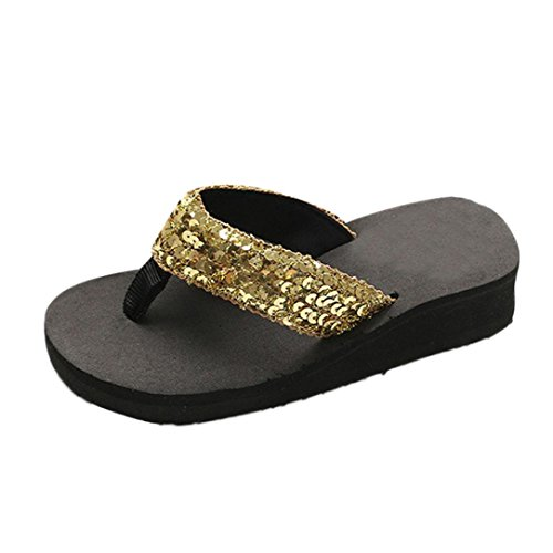 Fuibo Elegant Sandalette Frauen Sommer Pailletten Anti-Rutsch-Sandalen Slipper Indoor & Outdoor Flip-Flops für Strand, Travel,Swimming (36, Gold) (Pailletten-blumen-sandalen)