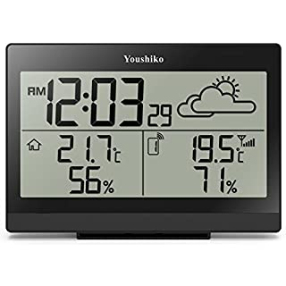 Youshiko Wireless Weather Station (Premium Quality/Clear Display) with Radio Controlled Clock (UK Version), Indoor Outdoor Temperature Thermometer, Humidity Ice Alert, Easy-to-Read Display