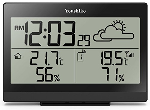 Youshiko Wireless Weather Station with Radio Controlled Clock ( UK Version) , Indoor Outdoor Temperature Thermometer, Ice Alert, Humidity, Easy-to-Read Display