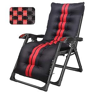 LXD Klappbarer verstellbarer gepolsterter Liegestuhl - Übergroßer verstellbarer Schwerelosigkeits-Liegestuhl für schwere Personen, schwarz, mit einer Stützkraft von 40 kg